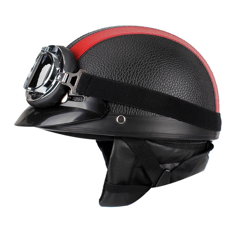 adult leather harley helmetsmask detachable goggles and mouth filter perfect vintage motorcycle helmet open face motorcycle Vintage Motorcycle Helmet Men women Helmet Open Face Retro Half Helmets Moto Motocicleta Capacete Casco Casque Kask with Goggles