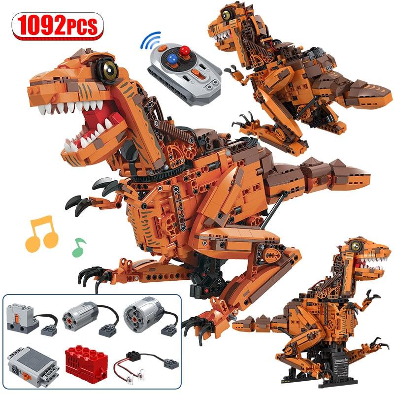 Bloques de construcción 1092 Uds., modelo tiranosaurio eléctrico creativo, Mundo Jurásico, bloques de dinosaurio técnico, juguetes para niños, regalos