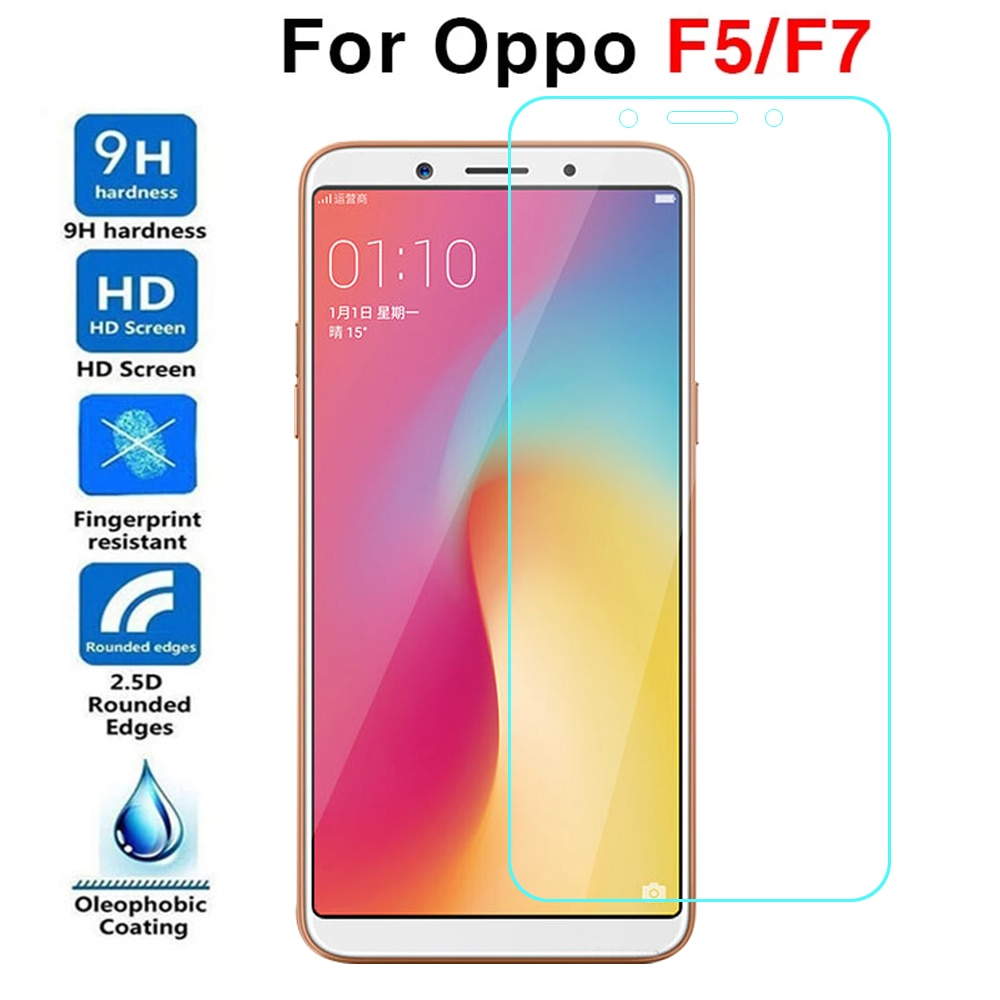 2PCS Protective Glass For Oppo F5 F7 Tempered Glas Case On For Oppo F 5 7 5f 7f Screen Protector Pro
