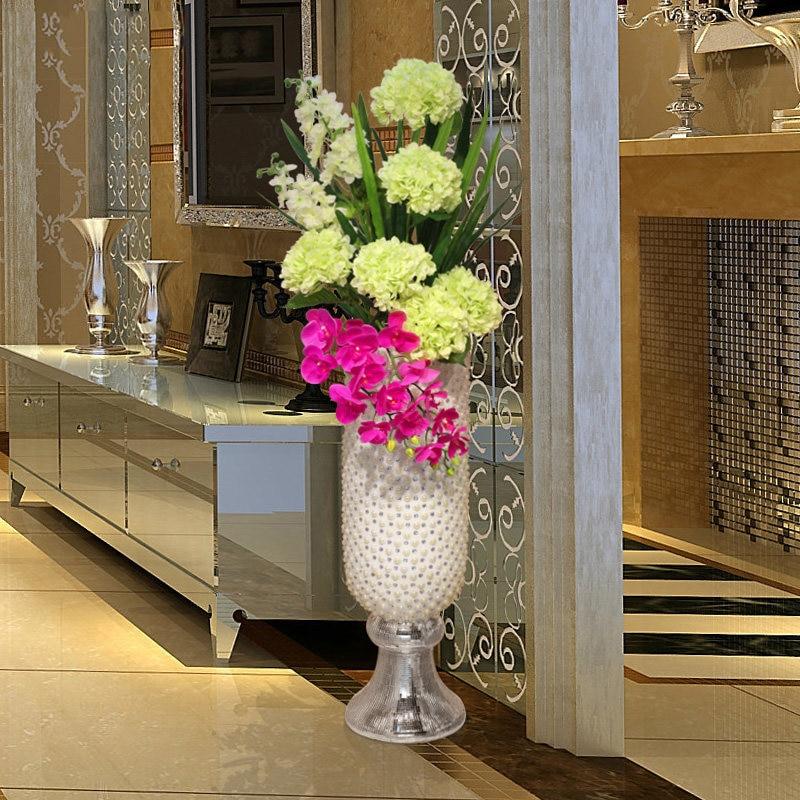 Lujo FRP cemento diamante piso grande jarrón artesanías hogar sala de estar boda maceta Hotel figurillas decoración Villa adornos