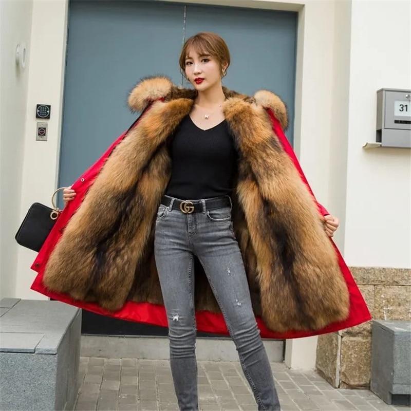 New Pike King DetaChable Winter Pie Women's Middle School Long Green Rooted Mink Raccoon Dog Fur Liner Fur Coat