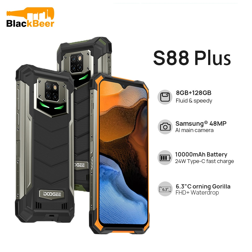 DOOGEE S88 Plus Rugged Android 10 MobilePhone IP68/IP69K Waterproof Smartphone 48MP Al Rear Camera 8GB 128GB Cellphone Gyroscope