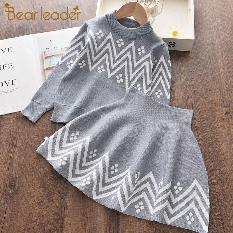 Платье для девочек bear leader, зимнее платье с геометрическим узором, одежда для девочек с длинными рукавами, пальто + платье-пачка, свитер, вязан...