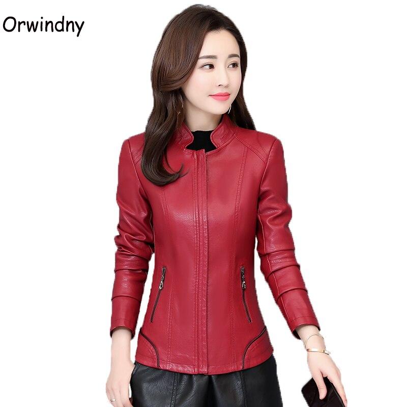 سترة من الجلد للنساء بسحاب معطف من الجلد للنساء مقاس كبير 5XL ملابس للسيدات ملابس ضيقة عصرية أساسية لفصل الربيع والخريف