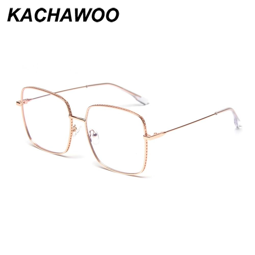 Kachawoo blue light blocking glasses square oversized mens prescription eyewear optical frames women retro full metal gold