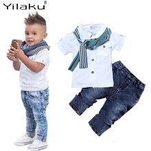 Yilaku Jungen Kleidung Sommer 3 Pcs Shirt + Jeans + Schal Jungen Kleidung Sets Polo Kurzarm Baby Kleidung Anzug kinder Outfits YY054