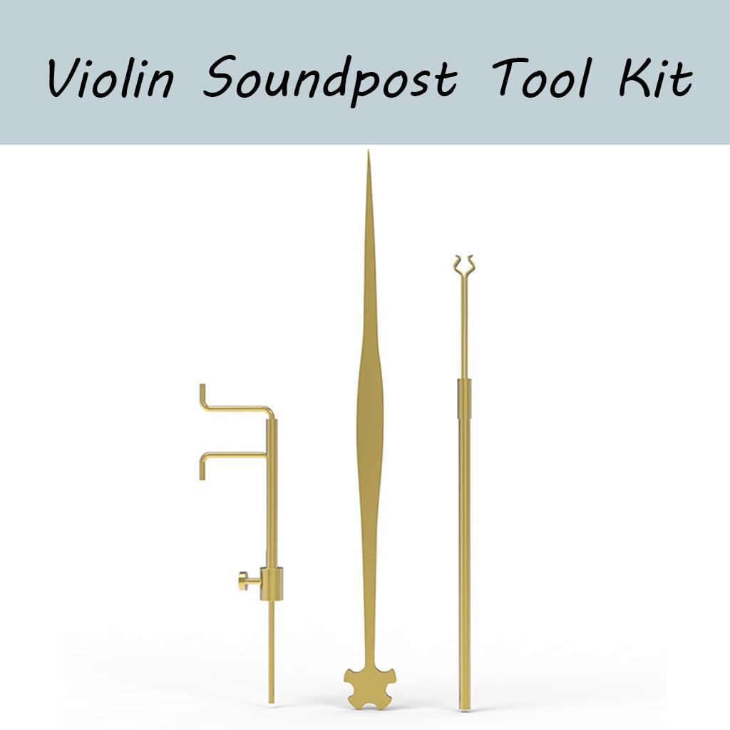 Kit de herramientas Luthier de violín, medidor de poste de sonido y Clip recuperador y Setter de latón