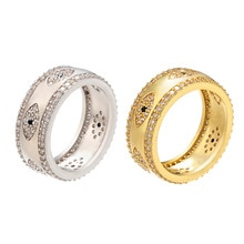 Welle Bösen blick Frauen Ring Gold Farbe T Zirkonia Gepflasterte Regenbogen Dame Finger Ring Hochzeit Engagement Indische Schmuck Größe 7 222