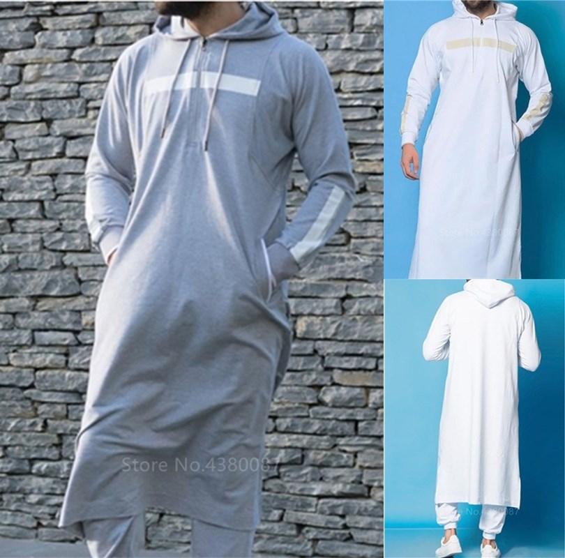 New Muslim Saudi Arabia Arabic Abaya Mens Jubba Thobe Arabic Islamic Clothing Winter Dubai Long Robes Fashion Kaftan Sweater