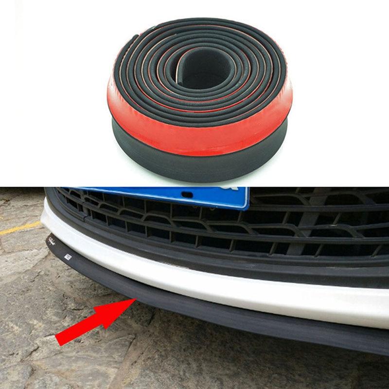 SPEEDWOW 2.5m Car Bumper Strip Carbon Fiber Rubber Spoiler Bumpers Soft Black Trim Lip Styling
