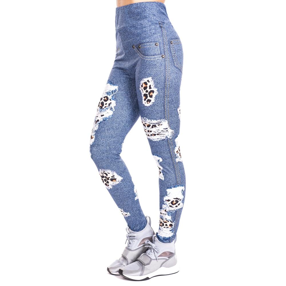 Parches de leopardo, pantalones vaqueros de imitación con estampado, Legging Push Up, pantalones de moda, pantalones de entrenamiento de cintura alta, Leggings para correr
