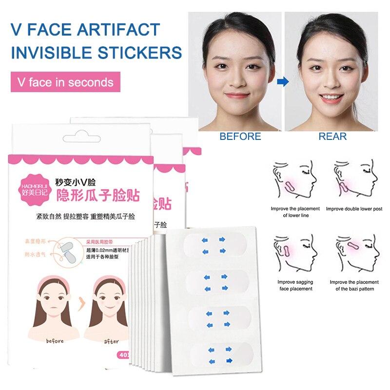Adhesivo Invisible para cara V, herramienta de levantamiento, 40 pegatinas, adhesivos de caras invisibles mate, adhesivos de caras pequeñas TSLM2