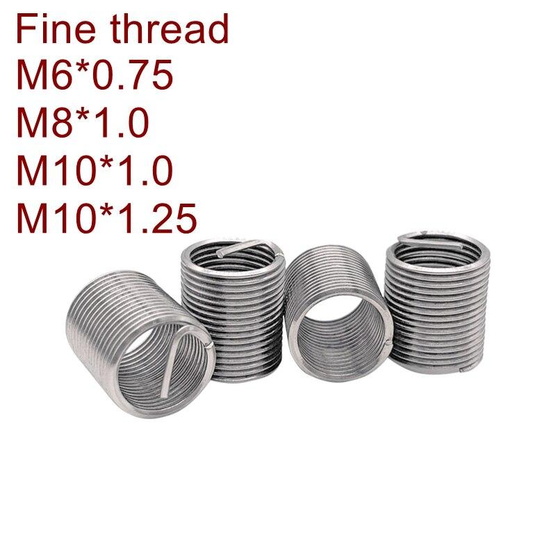 Inserto de rosca de cable fino M6 * 0,75, M8 * 1,0 * 1D/1.5D/2D/2.5D/3D Reparación de rosca de tornillo DIN8140