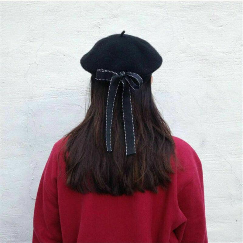 Moda mujer gorra boina sombrero sombreros de lazo invierno más cálido francés artista sombreros esquí gorras regalos sólidos boinas sombreros Retro gorros para mujer