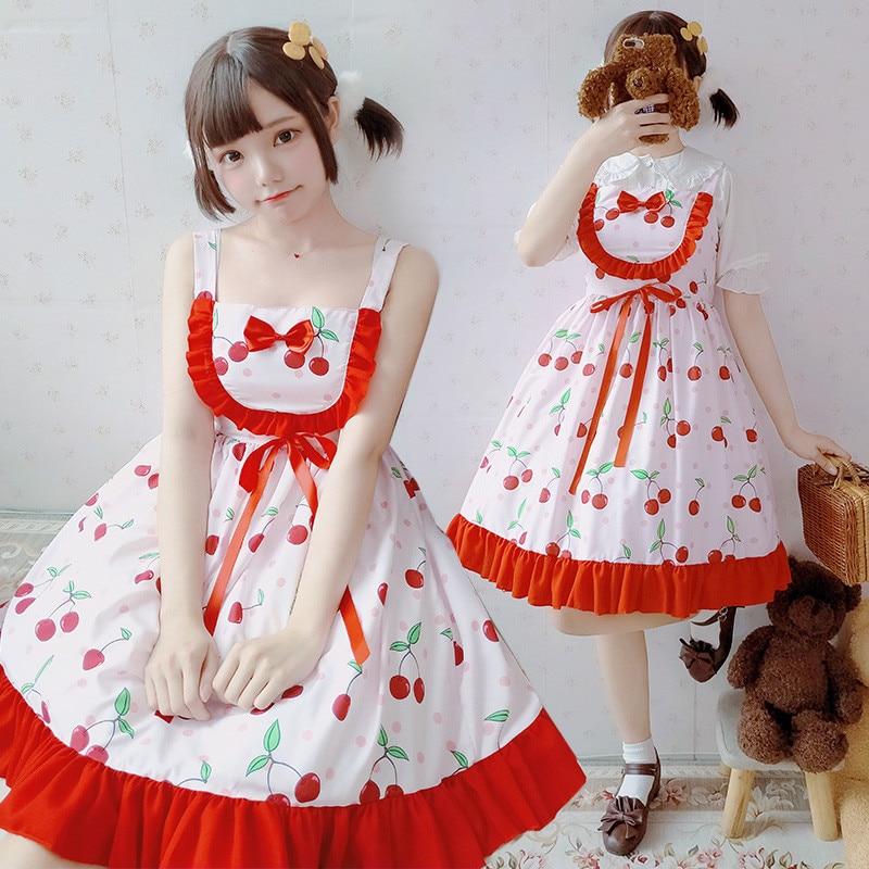 Sweet Lolita Dress Cute Printing Bowknot Dress Kawaii Girl Gothic Lolita JSK Loli Cos Japanese Princess Tea Party Costume jsk lolita cute lolita costume high collar dress lovely print lolita jsk coffee