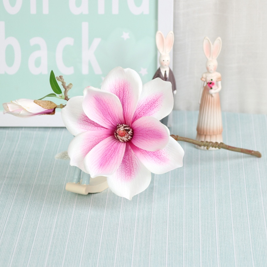 5 unids/lote de flores artificiales de seda Rama de orquídeas Magnolia flor falsa decoración de la boda sala de estar decoración del hogar flores de orquídeas