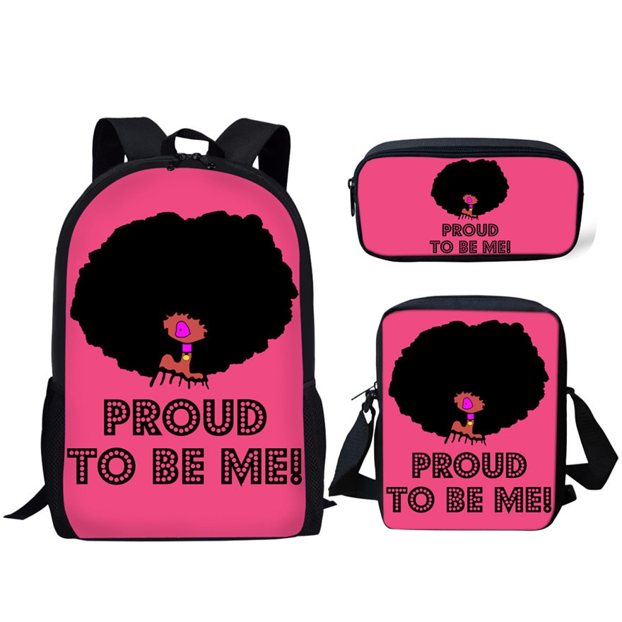 NOISYDESIGNS 3pcs/set Children Primary School Bags for Students Afro Black Girl Magic Melanin Poppin School Bag Kids Schoolbag