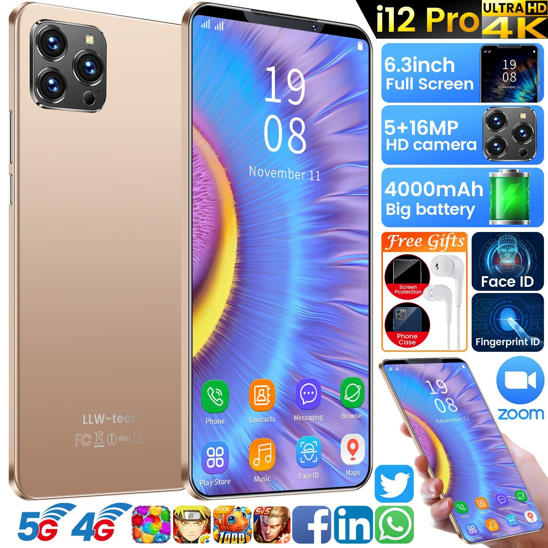 i12 Pro 6GB+128GB Smart Phone 6.3 Inch Full Screen Face Fingerprint ID Mobile Phones 5+16MP 10 Core Face ID Smart Phone Celular