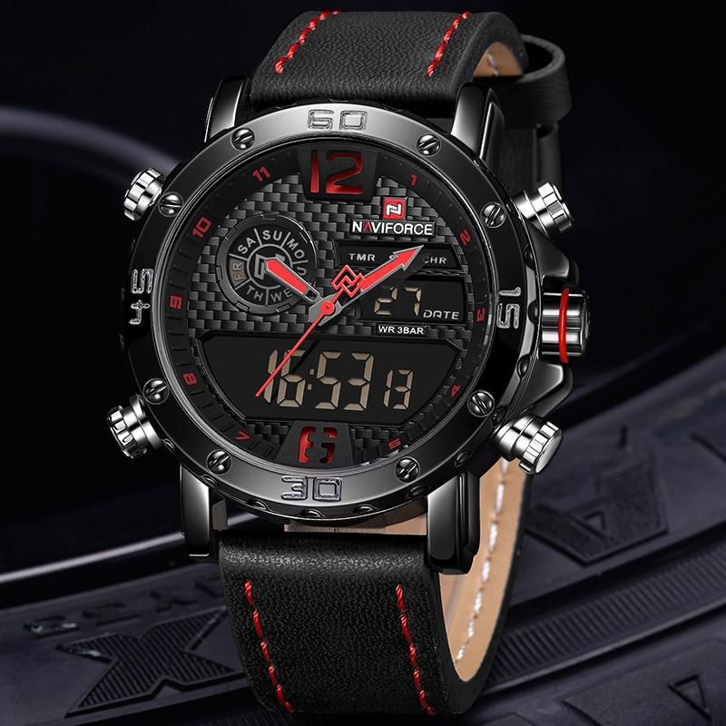 Часы наручные NAVIFORCE мужские с кожаным ремешком, Брендовые спортивные водонепроницаемые цифровые кварцевые аналоговые, в стиле милитари, 9134