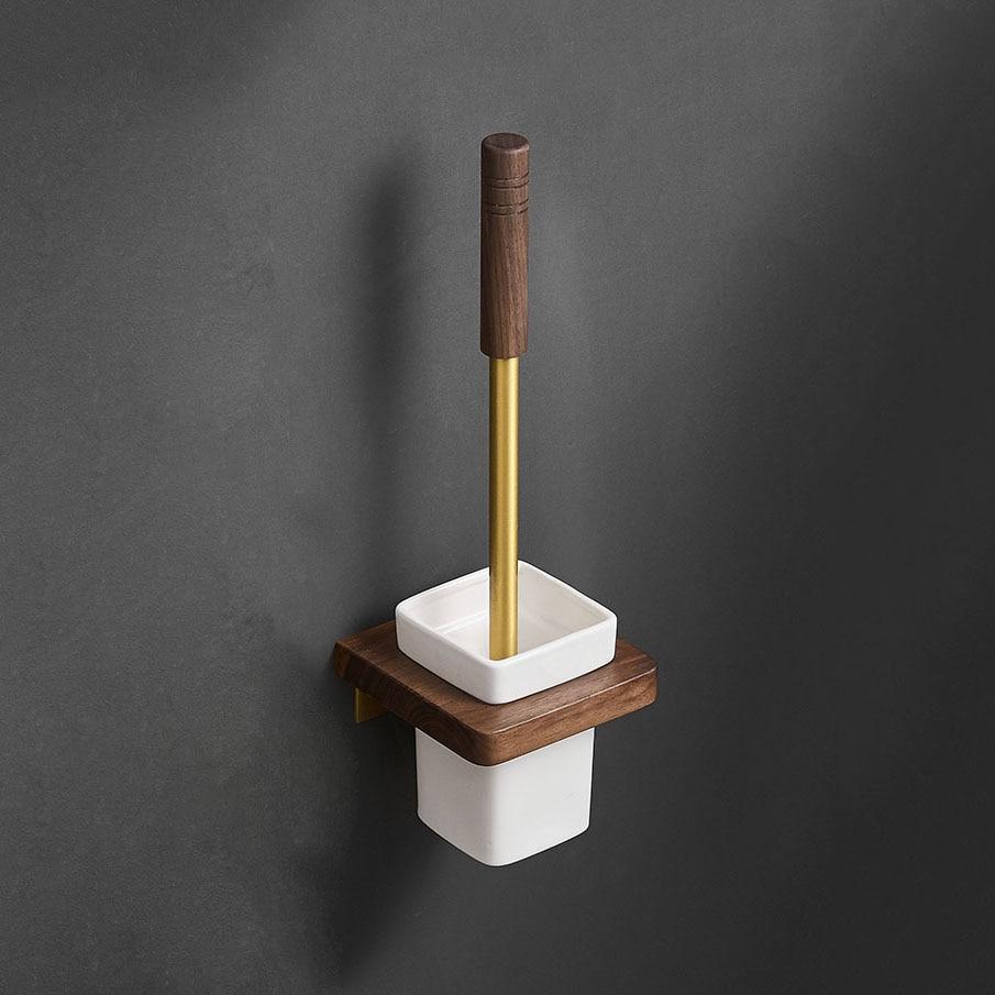 المرحاض فرشاة حامل فرشاة الذهب حمام المرحاض فرك تنظيف فرشاة مجموعة حامل مع فرشاة الحائط الألومنيوم اكسسوارات الحمام