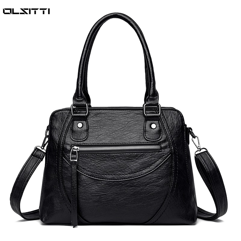 Solid Color Retro Leather False Hand Shoulder Bags for Women 2021 New Women's Handbag Large Capacity