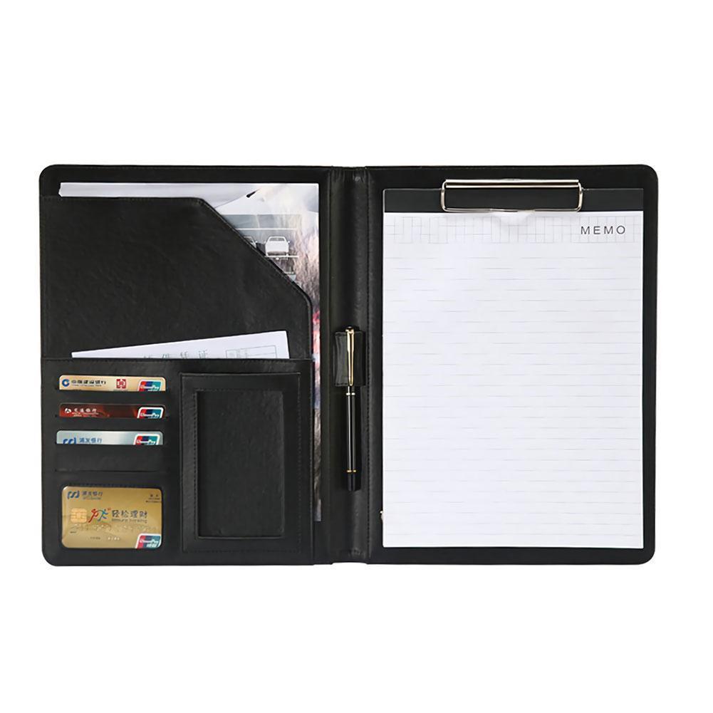 A4 multifuncional Carpeta de piel Pu documento comercial de almacenamiento de caja de almohadilla documento de protección caso maletín con almacenamiento de F5M6