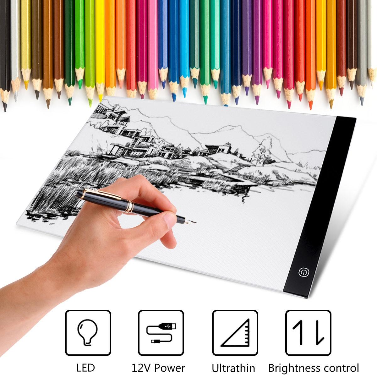Tableta de dibujo con panel de luz ajustable A3 LED, tablero de dibujo electrónico USB, almohadilla de dibujo Digital para pintar bocetos de animación