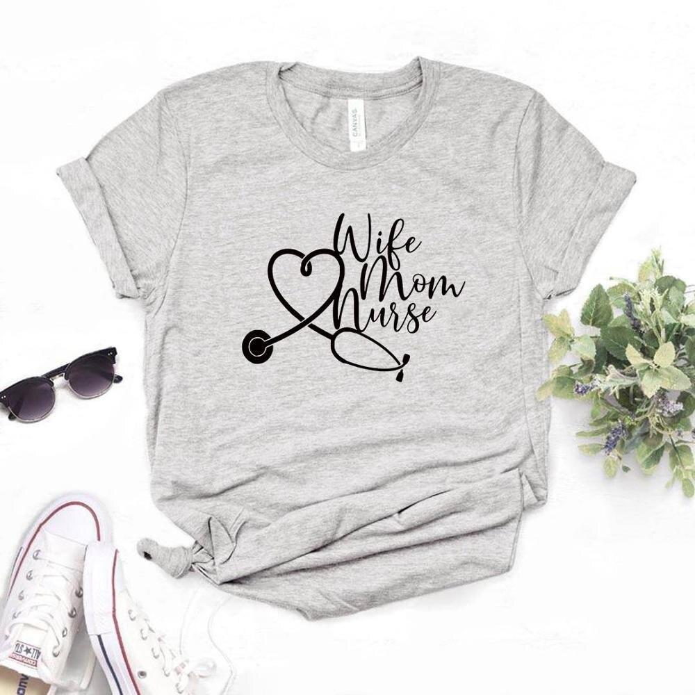 Women T Shirt Wife Mom Nurse Print Tshirt Women Short Sleeve O Neck T-shirt Ladies Causal Tee Shirt Tops DWQW недорого