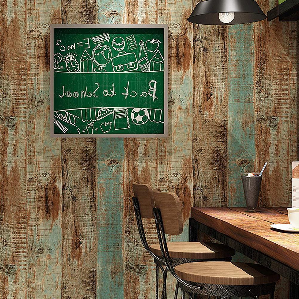 Rolo de filme de madeira azul interior do painel removível da vara da casca do papel autoadesivo de madeira do vintage nenhum limpo deixa superfícies fácil parede o6b6