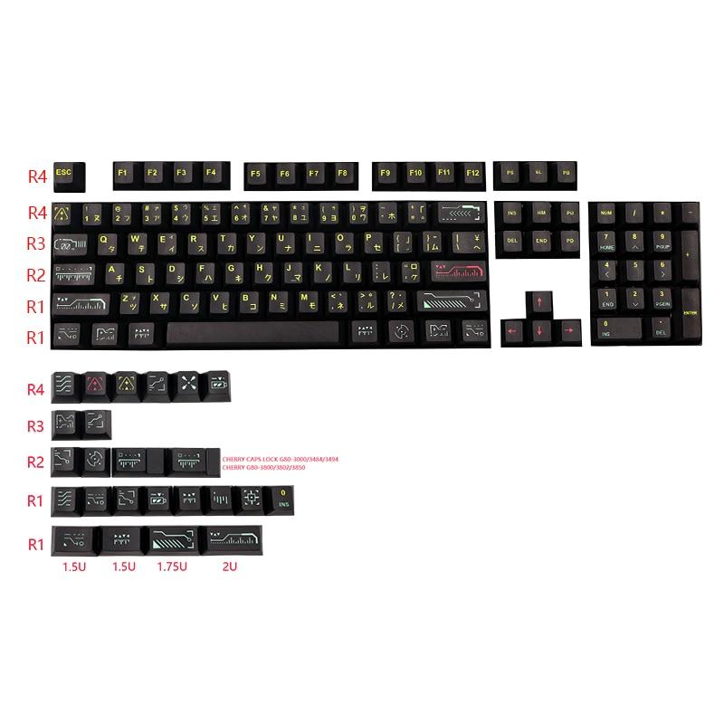 128 مفاتيح/مجموعة أسود توقظ Keycap PBT 5 الجانب صبغ سوبيد مفتاح قبعات ل MX التبديل الميكانيكية لوحة المفاتيح الكرز الشخصي