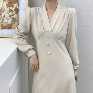 New Design High Quality Nude Long Dress for Women Spring 2021 Robe One Piece Fashion Black A-line Elegant V-neck Ladies Clothing