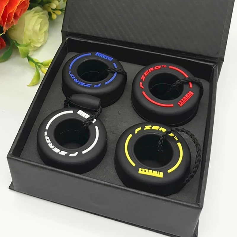 Simulation  F1 Car Tire Keychain K-pop Accessories Personalized Key Charm  Car Freebies Gadgets For Men F1 souvenirs