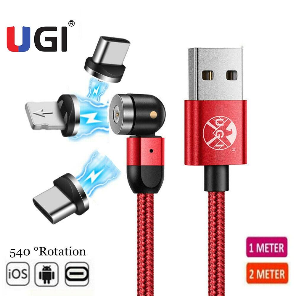 UGI 1M/2M Cable magnético carga rápida 540 180 giratorio 360 de trenzado...