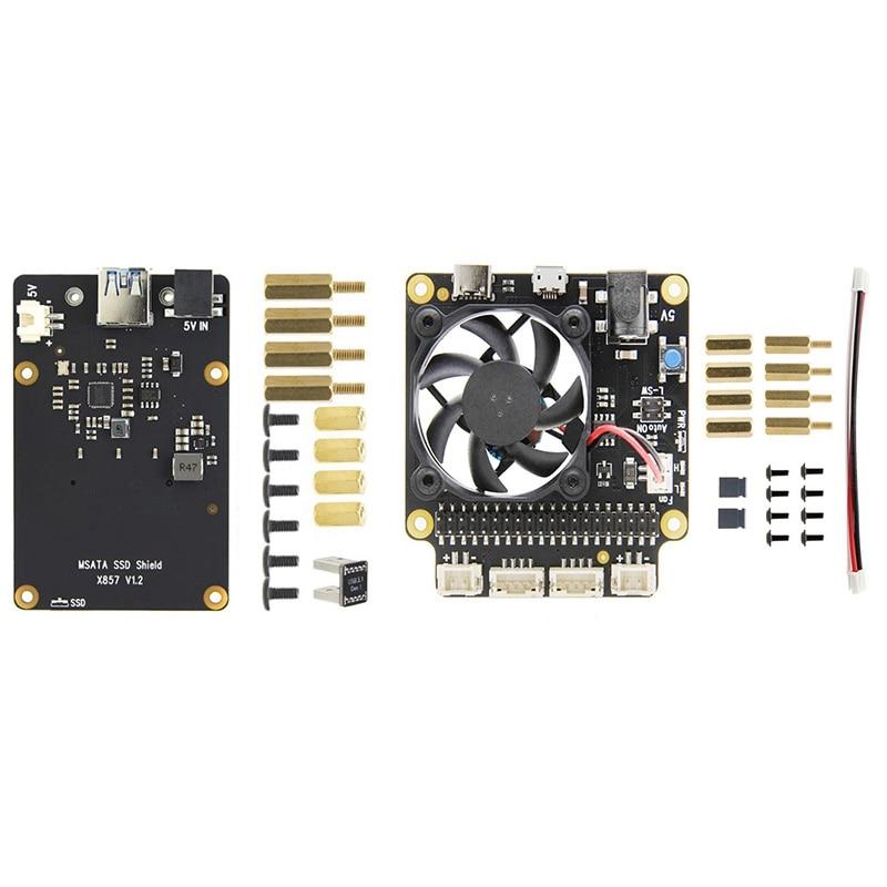 X857 V1.2 MSATA SSD لوح تمديد مع X735 إدارة الطاقة ولوحة التبريد لتوت العليق Pi 4B