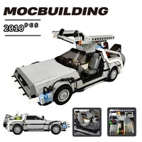 2021 new movie ideas series back to the future moc time machine car model building blocks toys for kids xmas gift diy bricks set