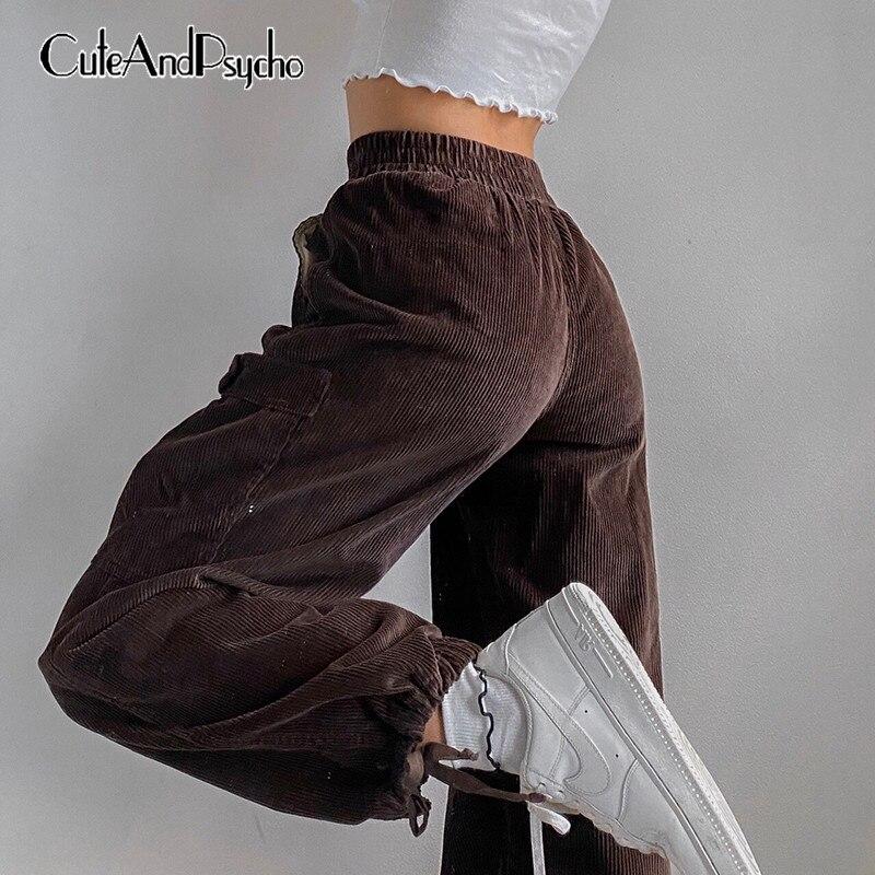 Cuteandpsycho-سروال قصير بني للنساء ، ملابس الشارع ، جيب كبير ، خصر مرتفع ، بدلة رياضية ، Harajuku ، y2k