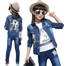 Kids Clothes Girls Denim Jacket+Jeans 2Pcs Suit For Girl Floral Sequined Girls Clothing Autumn Girls