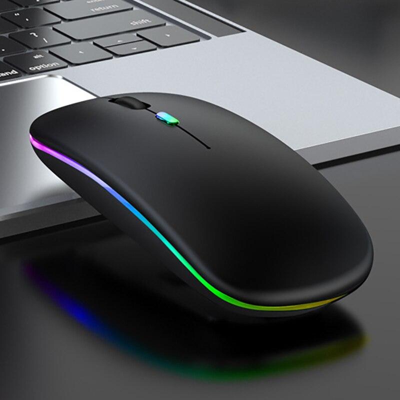 Rato de Computador sem Fio Mouse para Computador Bluetooth Carregamento Gaming Receptor Óptico Led Backlit Silencioso Portátil Telefone Celular Ipad Usb