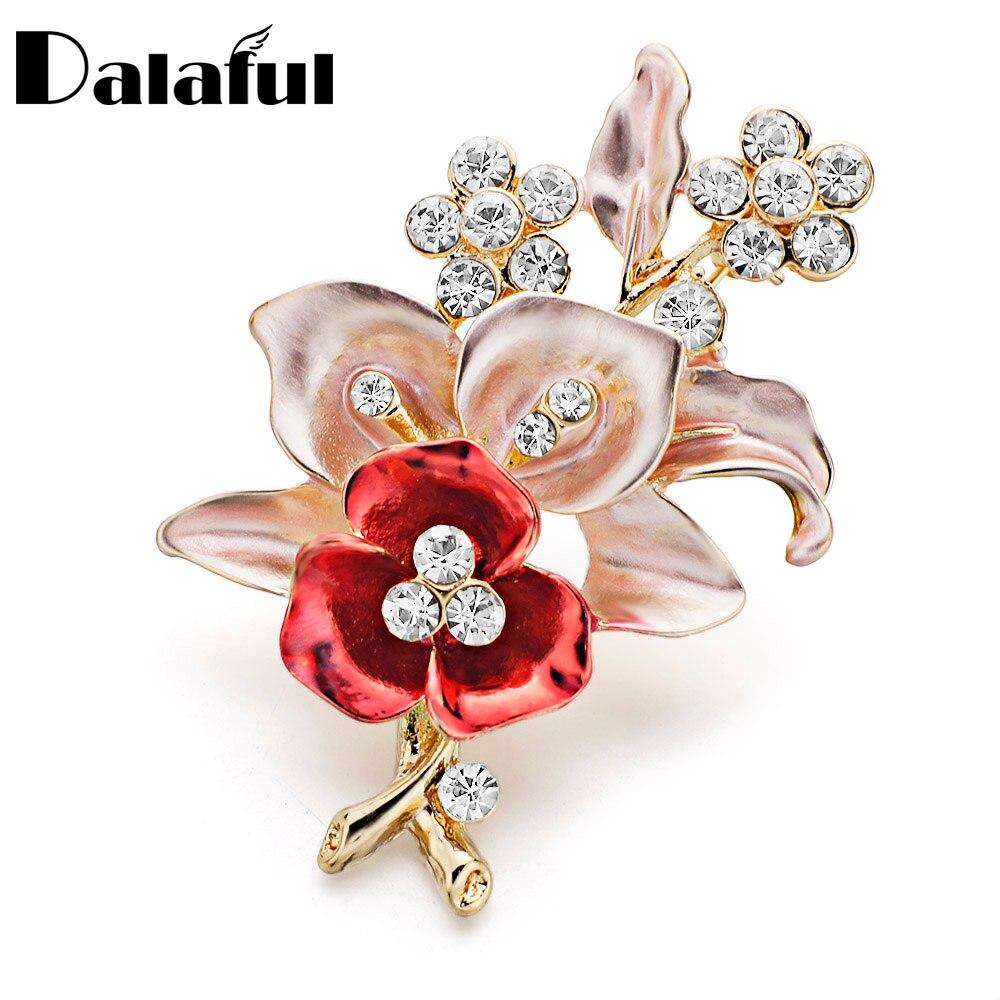 Elegante broche de flor roja, broches de cristal increíbles para boda, novia, preciosa joyería para regalo de mujer Z024