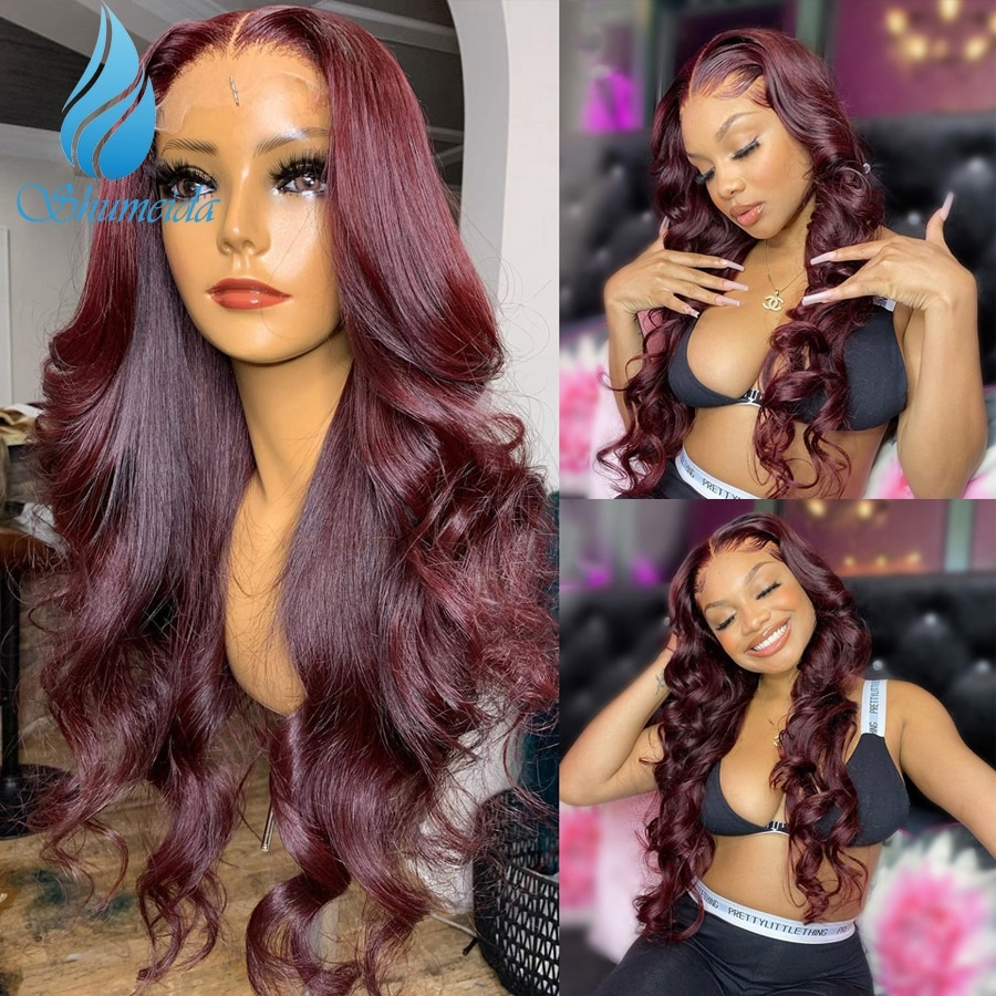 Shumeida 99J Red Color 13*4 Lace Front Wigs Brazilian Remy Human Hair Bleached Knots Pre-Plucked Glueles Wigs Baby Hair