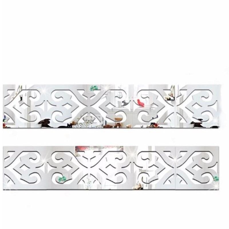 30Pcs 5*5Cm 3D Spiegel Sticker Diy Taille Lijn Moderne Design Kamer Decoratie Patroon Muur Stickers Voor kids Kamers Woonkamer