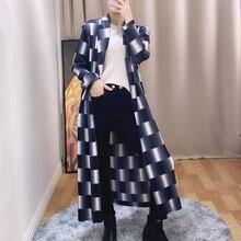 Changpleat 2020 autumn New Women Trench coat Plaid printing Miyak Pleated Fashion Long sleeve Loose