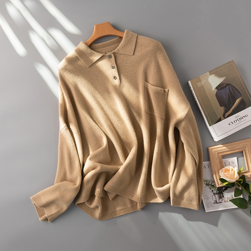SHUCHAN Oversized Sweater Women 2021 New Autumn Winter Wool Pockets  Button Up Collar  Streetwear  Single Breasted