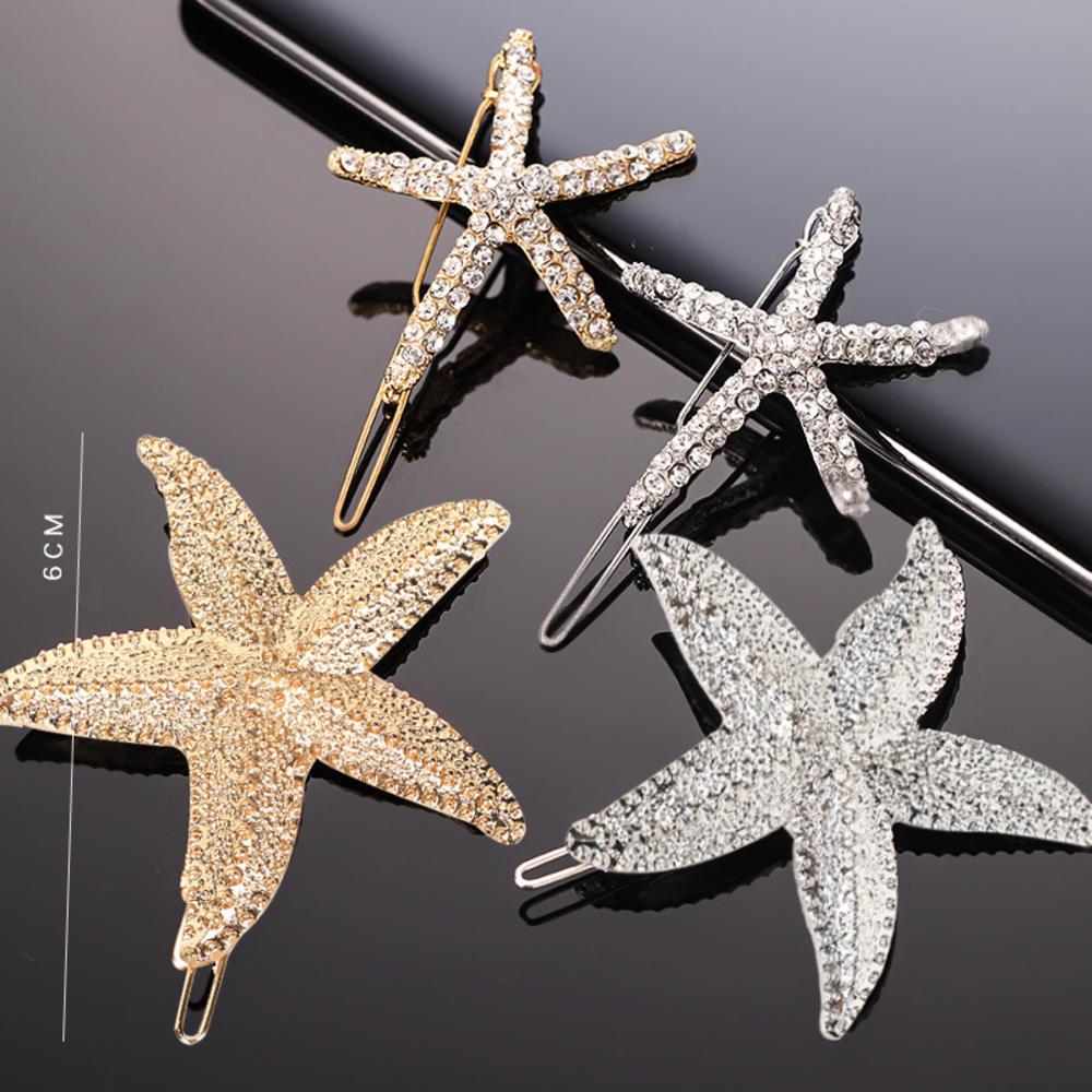 Horquillas de pelo elegantes de estrella de mar Clips de pelo playa nupcial hecho a mano concha de mar horquilla Mermaid Festival tocado de boda Accesorios