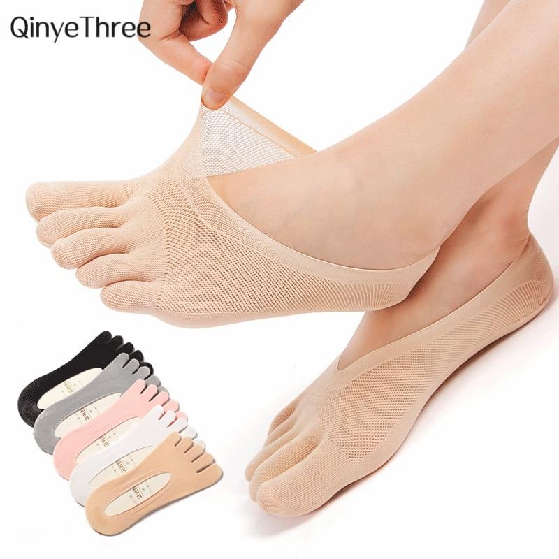 جوارب نسائية صيفية خماسية الأصابع جورب رقيق للغاية للأصابع غير مرئي sokken مع سيليكون مضاد للانزلاق يسمح بالتهوية ومضاد للاحتكاك