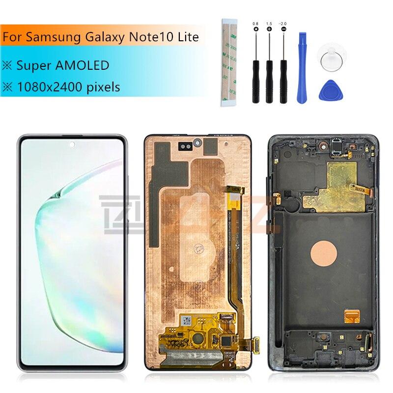 ЖК-дисплей для Samsung Galaxy Note 10 lite, сенсорный экран с цифровым преобразователем для Samsung Galaxy Note 10 lite, N770F/DS N770F/DSM, с рамкой для Samsung note10 lite, ЖК-экран 6,...