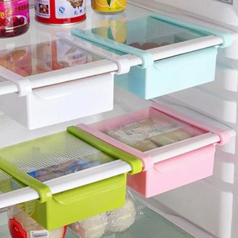 Mini ABS DIY Slide cocina nevera congelador ahorrador espacio organización almacenamiento estante de baño estante organizador titular