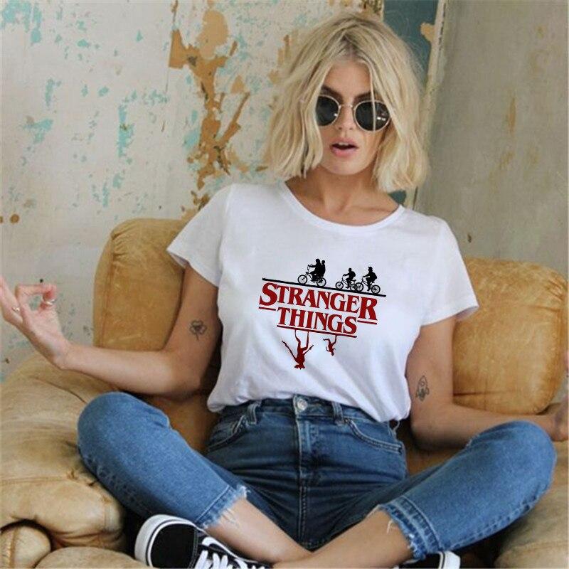 Showtly Stranger Things, camiseta Casual de 11 mujeres, camiseta, camiseta femenina, ropa de mujer, Harajuku, divertida película popular