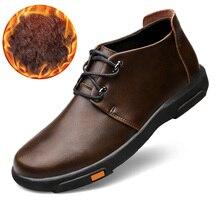 جلد طبيعي الشتاء أحذية الرجال الثلوج الأحذية مقاوم للماء حذاء من الجلد الذكور الأحذية الخريف الأسود الشتاء حذاء رجالي حجم كبير 37-45 Yixi