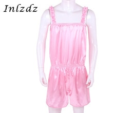 Hommes Sissy crosscommode robe brillant Sissy Lingerie exotique ensemble de costumes froufrous Satin robe pantalon Girly pyjamas Sissy déguisement